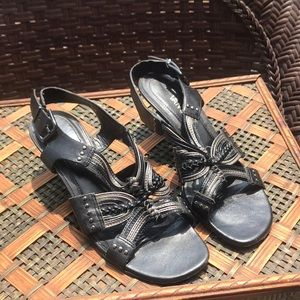 VANELi Black and Silver Strappy Sandal Heels 7.5